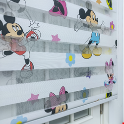 Miki Ve Minnie Mouse Zebra Perde