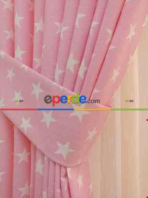 Pembe-beyaz Yıldız Desenli Fon Perde ( Leke Tutmaz )- Pembe Açık