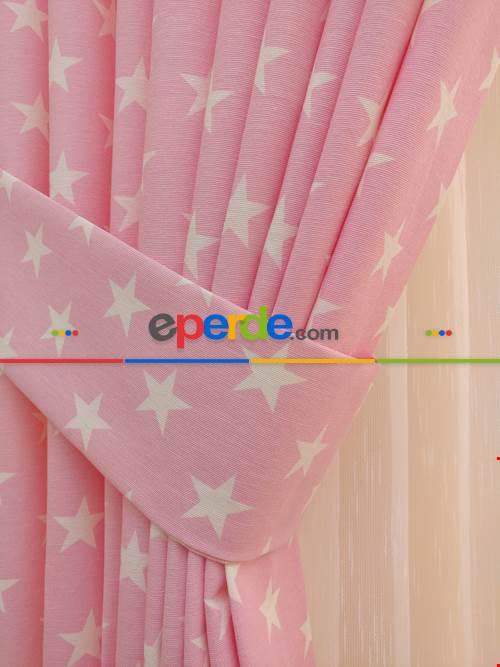 Çocuk Odası Fon Perde - Pembe-beyaz Yıldız Desenli Fon Perde ( Leke Tutmaz )- Pembe Açık
