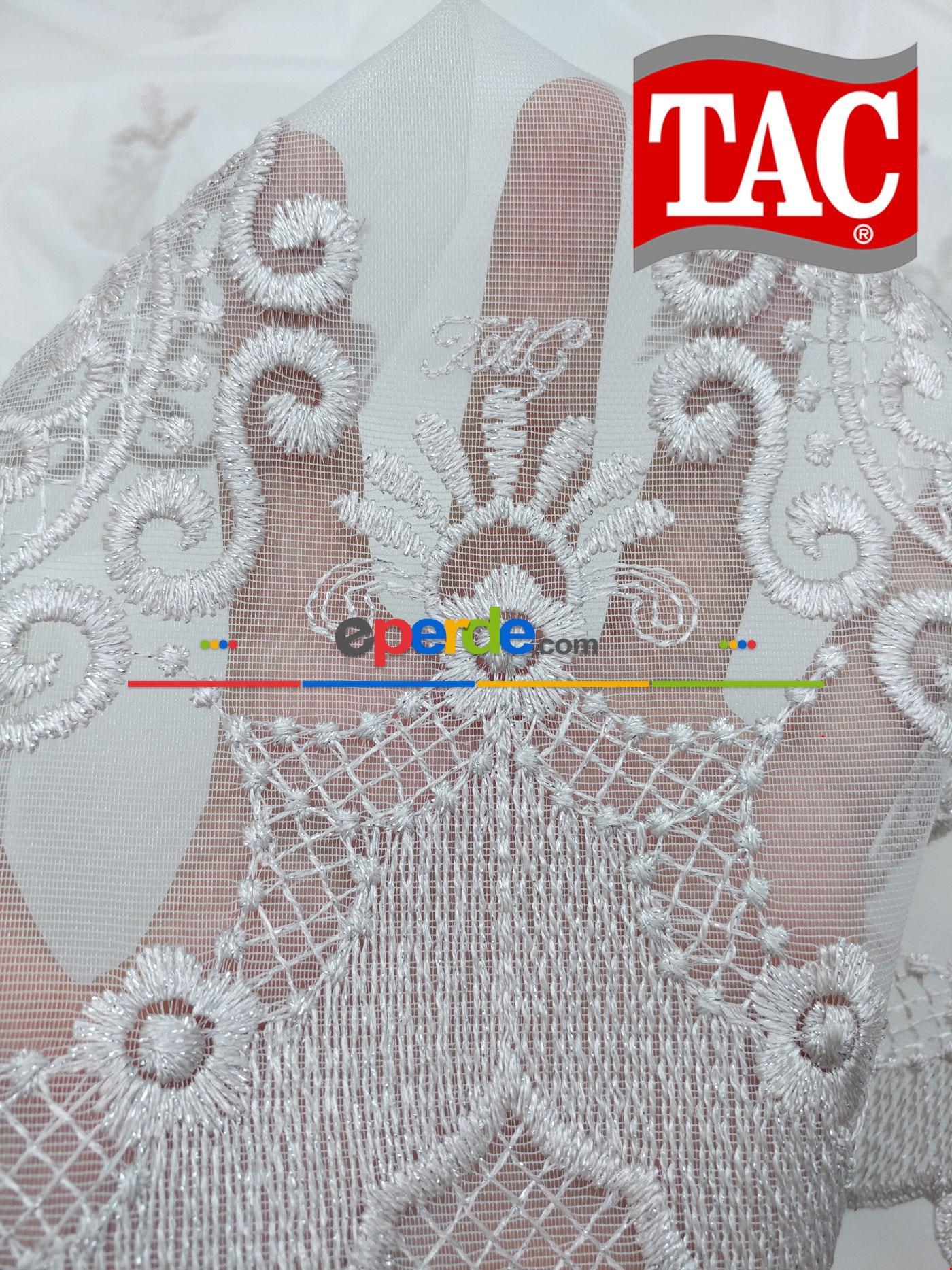 Gri - Gümüş Simli Damask Desenli Dantel Örme Tül Perde Ve Kruvaze Perde