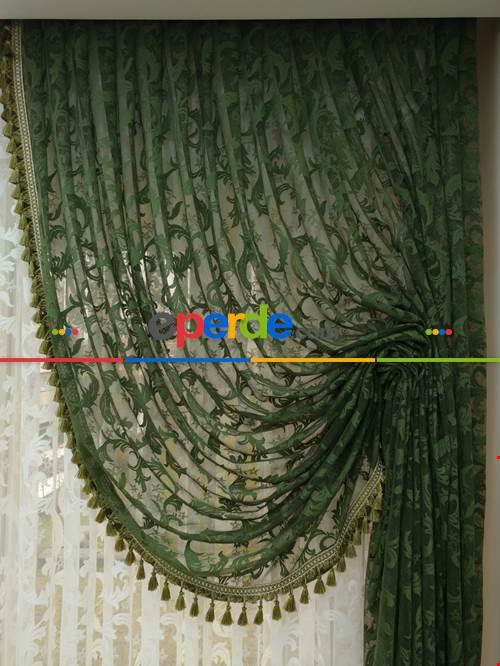 Yeşil Saçaklı Mekanizmalı Dantel Fon Perde