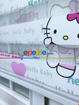 Hello Kıty Kız Çocuk Baskılı Zebra Perde- Turkuaz-pembe