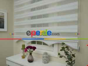Salon Zebra Perde - Zebra Perde - Micro Pilise - Simli Geçişli Zebra Perde- Gümüş Simli