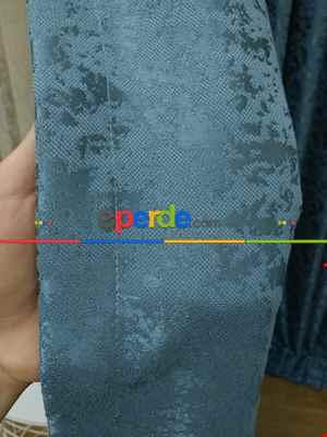 İndiğo Rengi Kendinden Desenli Jakar Fon Perde (285 En)- Mavi Koyu