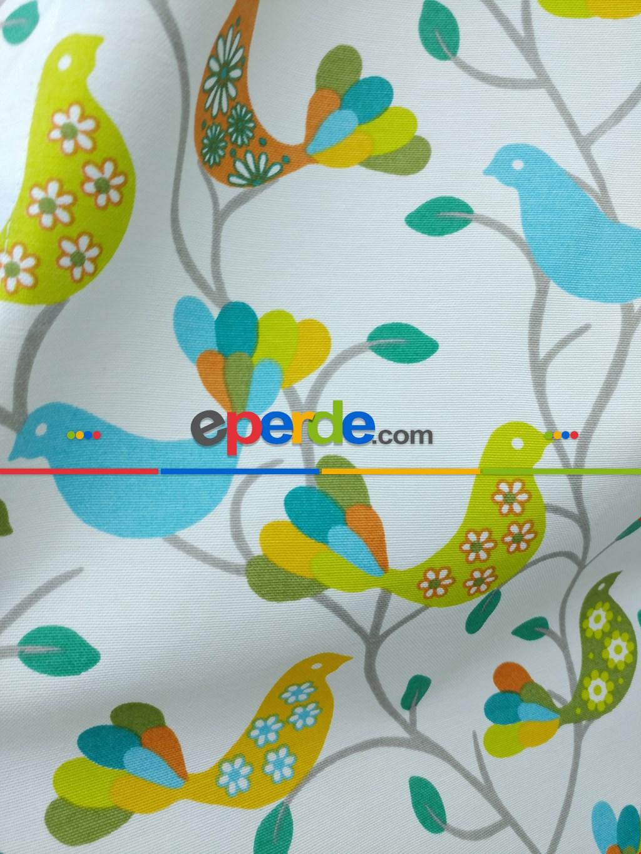 Kuşlar Desenli Fon Perde
