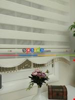 Krem - Ekru Renk Plise Zebra Perde (kalın Zeminli) Krem Açık - Ekru