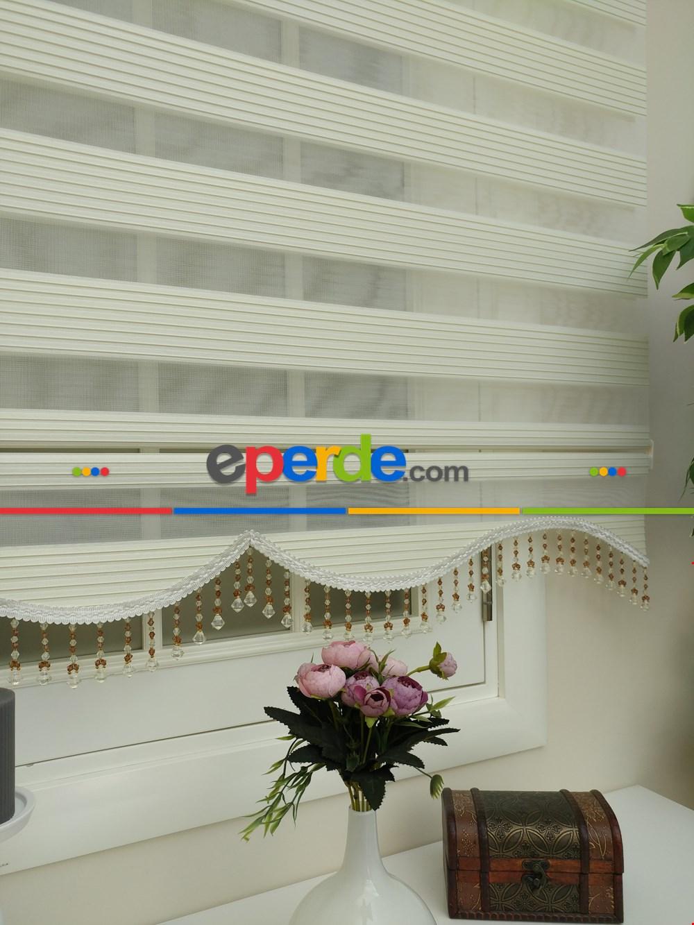 Krem - Ekru Renk Plise Zebra Perde (kalın Zeminli)