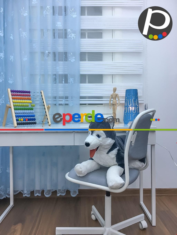 Çocuk Odası - Tül Fon Perde Açık Mavi