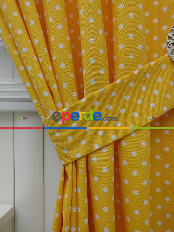 Açık Mavi Fon Perde Puanlı ( Leke Tutmaz ) Sarı