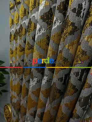 Sarı Desenli Jakar Fon Perde (180)- Sarı