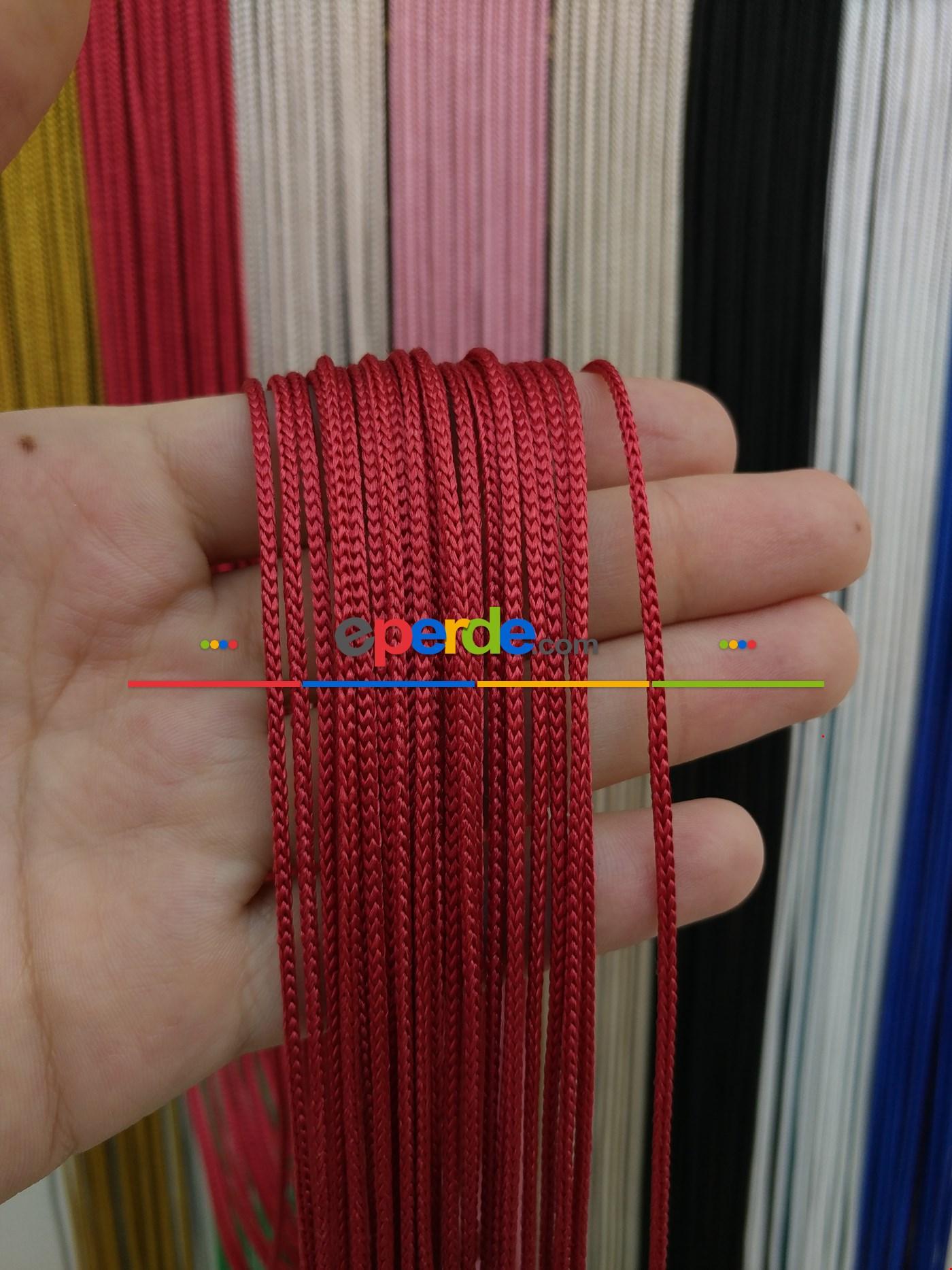 Krem Rengi İp Perde Kalın Zincir Serisi Kırmızı