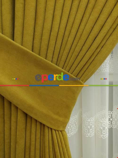 Hardal Rengi Düz Sade Fon Perde Dökümlü ( En 150cm Dökümlü Fon )- Hardal Sarısı