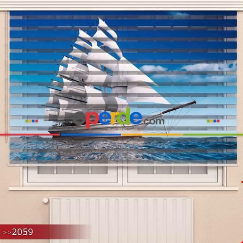 Genç Odası - Yelkenli Gemi Özel Poster Baskılı Zebra Perde