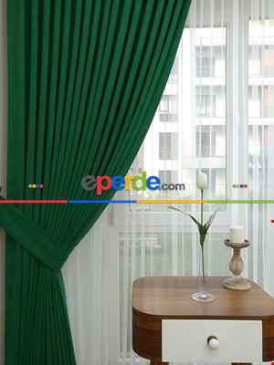 Koyu Yeşil Düz Fon Perde ( En 150cm Dökümlü Fon )- Yeşil Koyu Yeşil