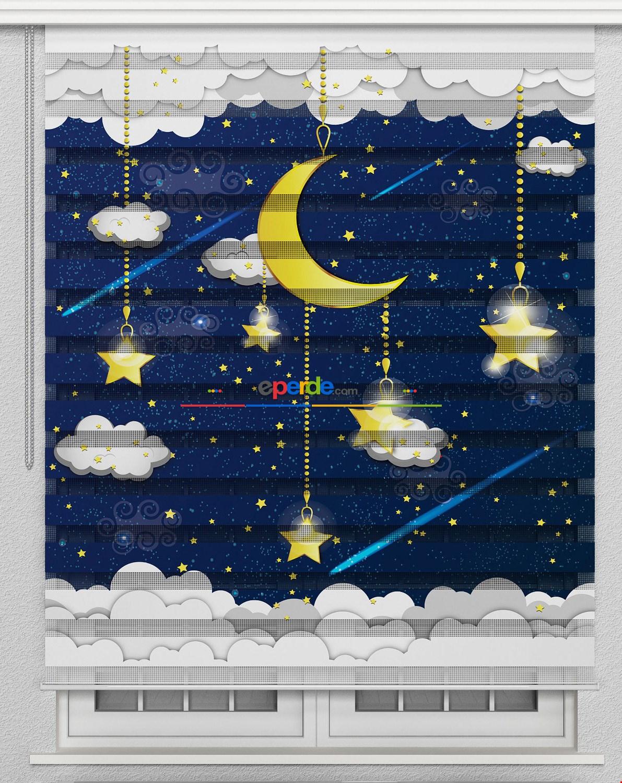 Erkek Bebek Odası Bulut Yıldız Ay Desenli Zebra Perde
