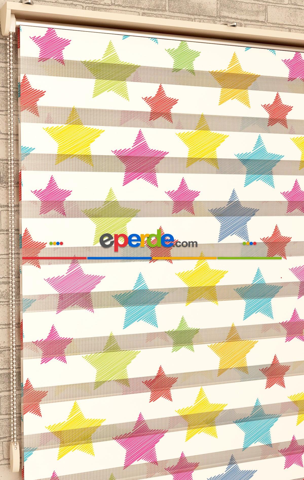 Renkli Yıldız Desen - Baskılı Zebra Perde