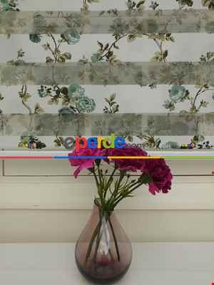 %25 İndirimli!!! Yeşilli Çiçekli Zebra Perde (yeni Ürün)