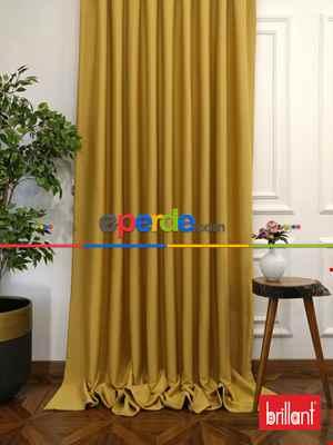 Brillant Karartma Blackout Hardal Sarı Renk Fon Perde- Hardal Sarısı