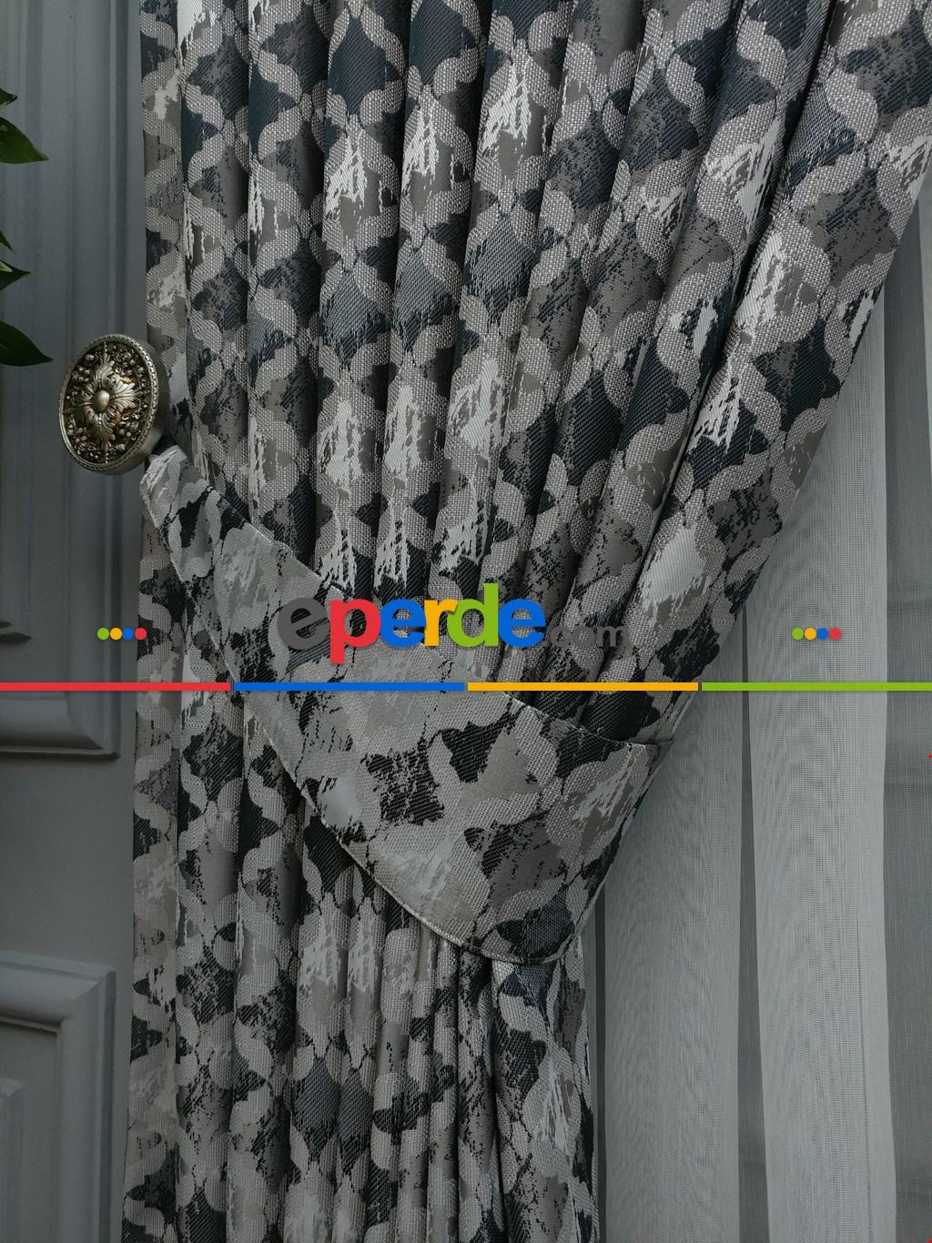 Gri Desenli Jakar Fon Perde (180)- Füme