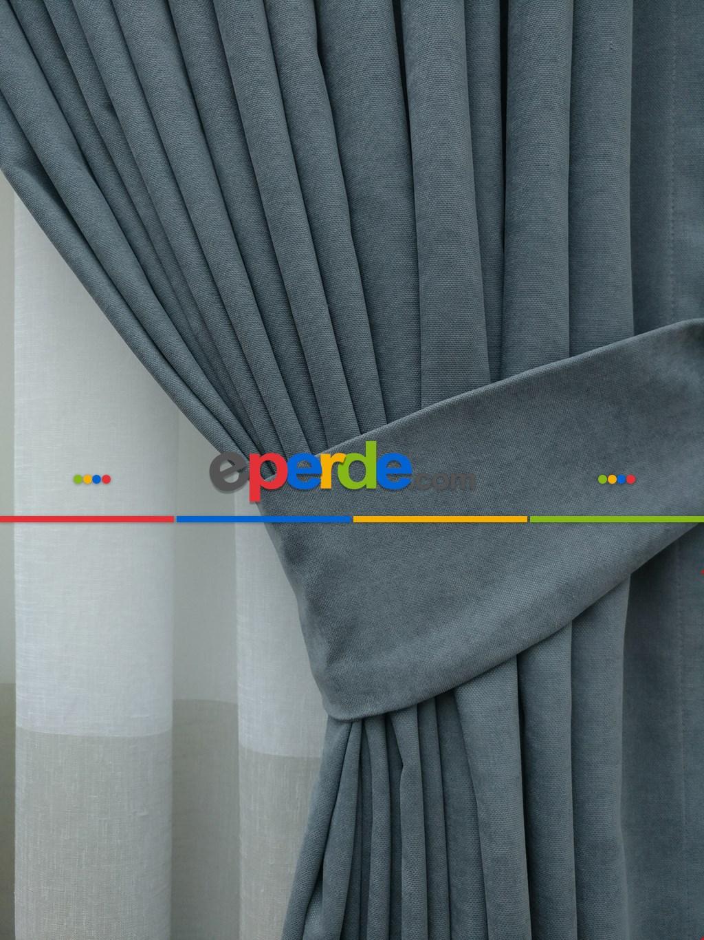 Mavi - Düz Fon Perde ( 180cm En 1.kalite Dökümlü Fon )- Mavi