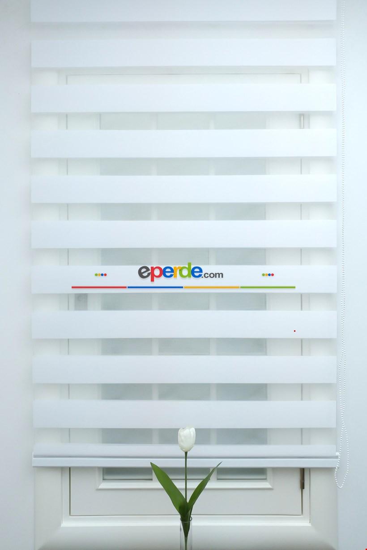 Zebra Perde-tual Beyaz Renk Düz Zebra Perde