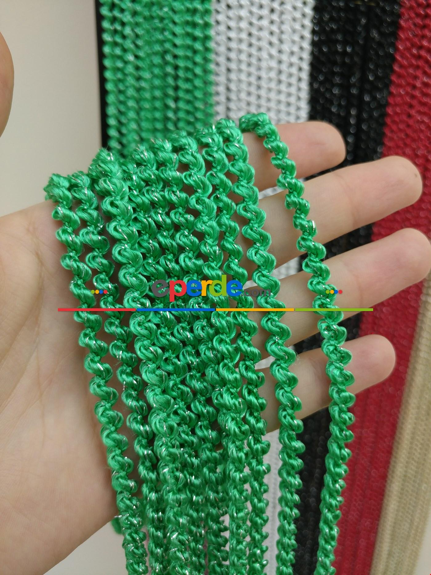 Gri Rengi İp Perde Bukle Serisi Yeşil - Gümüş
