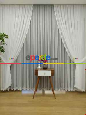 Fransız Dantel Tül Perde Salon Perdesi Etek Ucu Nakış (güpür) İşlemeli - 3- Ekru