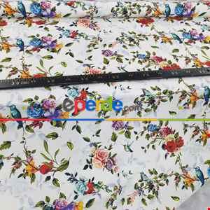 Çiçek Desenli Fon Perde Evm1059 Kumaşı Kalındır Duck Bezi Değildir- Yeşil-Kırmızı-Pembe Koyu