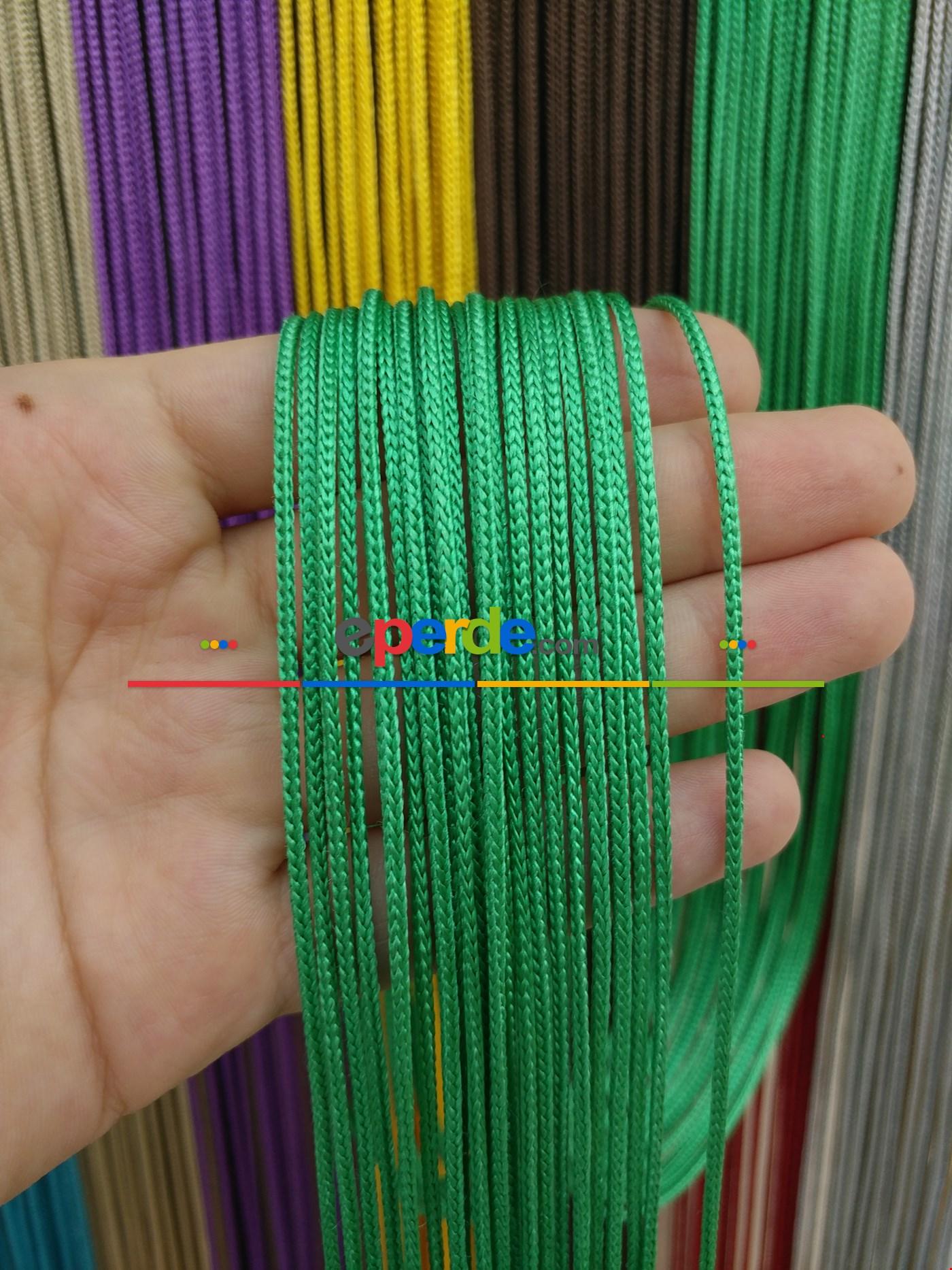 Krem Rengi İp Perde Kalın Zincir Serisi Yeşil