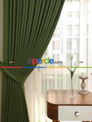 Çimen Yeşil Düz Fon Perde ( En 150cm Dökümlü Fon )- Yeşil