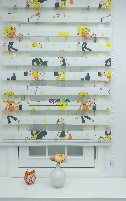 Fashion Moda Kız Çocuk Odası Zebra Perdesi ( Ücretsiz Etek Dilim )