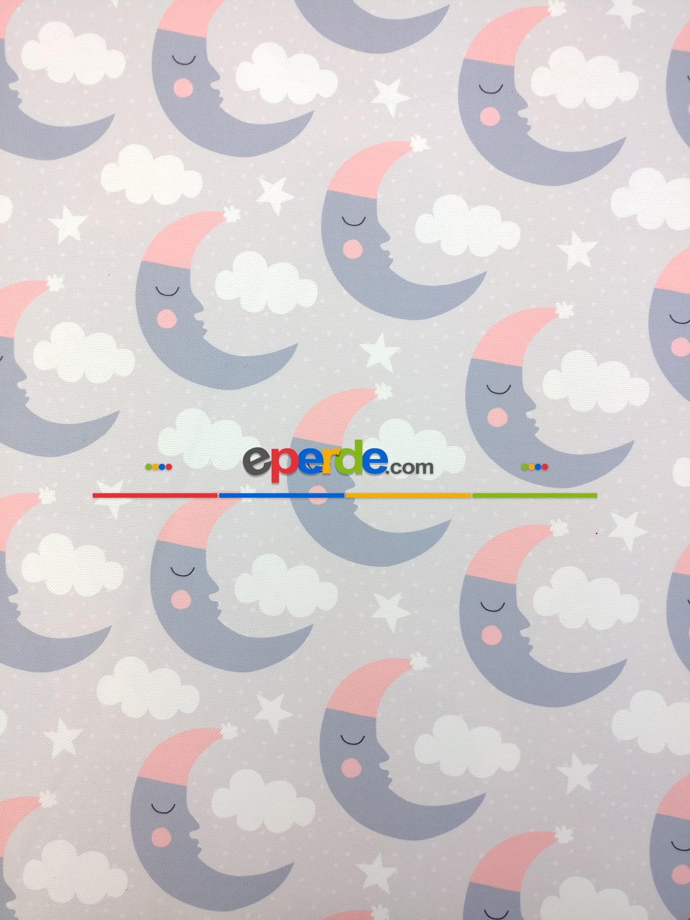 Bulut Desenli Bebek Odası Fon Perde Modelleri - Ay Dedeli