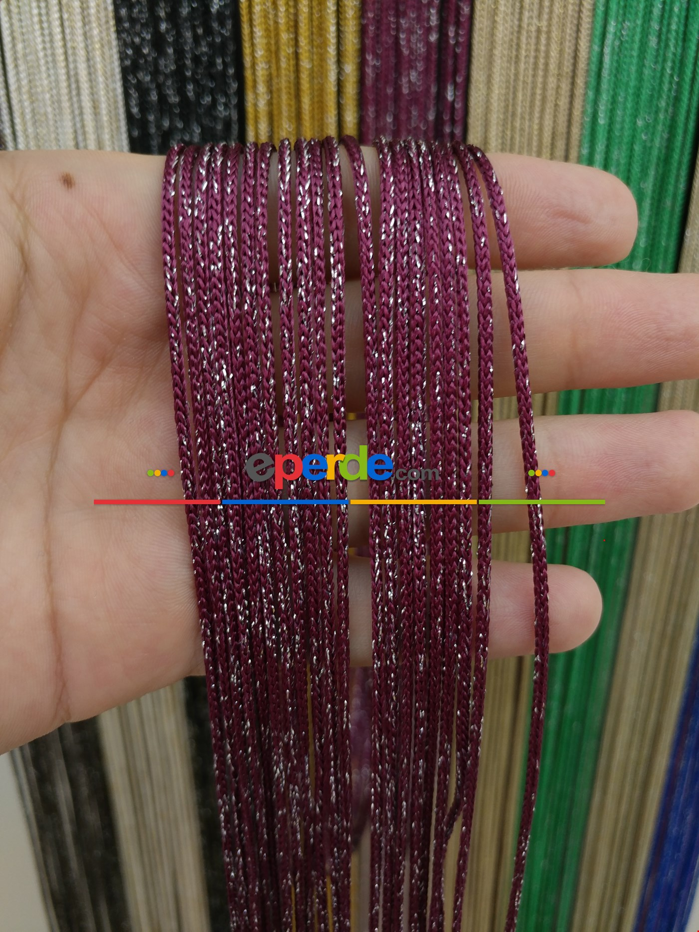 Bej Rengi İp Perde Kalın Zincir Simli Serisi Bordo - Gümüş