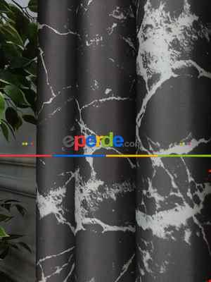 Lens Akıllı Dikey Tül Perde Mermer-22- Çok Renkli 2