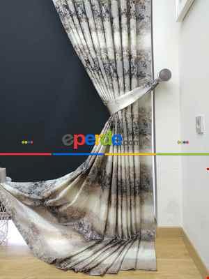 Gökkuşagı Desenli Jakar Fon Perde (180cm En)- Kahve