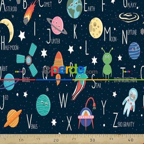 Bebek Odası Fon - Uzay Desenli Fon Perde Evm833 Kumaşı Kalındır Duck Bezi Değildir- Mavi