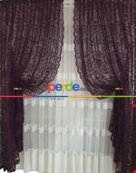 Tül Fon Gri Renk Fon Büzgülütasarım Yeni Moda Perde- Gri-füme-antrasit Mor