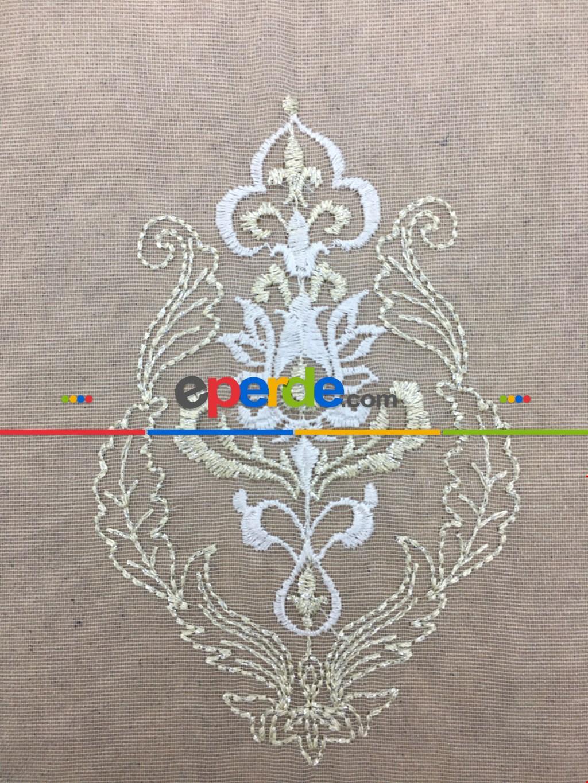 Ekru-krem Çift Renkli Damask Desenli Nakış İşlemeli Tül Perde