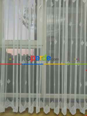 Grek Zemin Serpme Damask Desen Tül Perde- Ekru