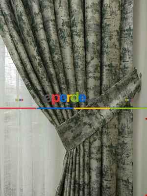 Salon Fon Perde Açık Krem - Düz Jakar Fon Perde (180)- Yeşil Koyu Yeşil