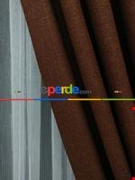 Keten Gri Renk Düz Fon Perde- Gri-füme-antrasit Kahverengi