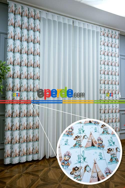 1. Kalite Bebek Ve Çocuk Baskılı Tül Dikey Zebra Perde Kovboy Kızılderili Çadırlı Desen- Beyaz-turkuaz-kahve Açık-vizon Rengi-su Yeşili