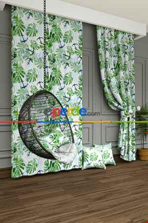 Yeşil Yaprak Ve Çapa Baskılı Fon Perde- Lacivert-Açık Yeşil-Mavi Açık-Ekru