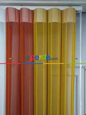 Lens Akıllı Dikey Tül Perde 115- Beyaz-kiremit Rengi-hardal