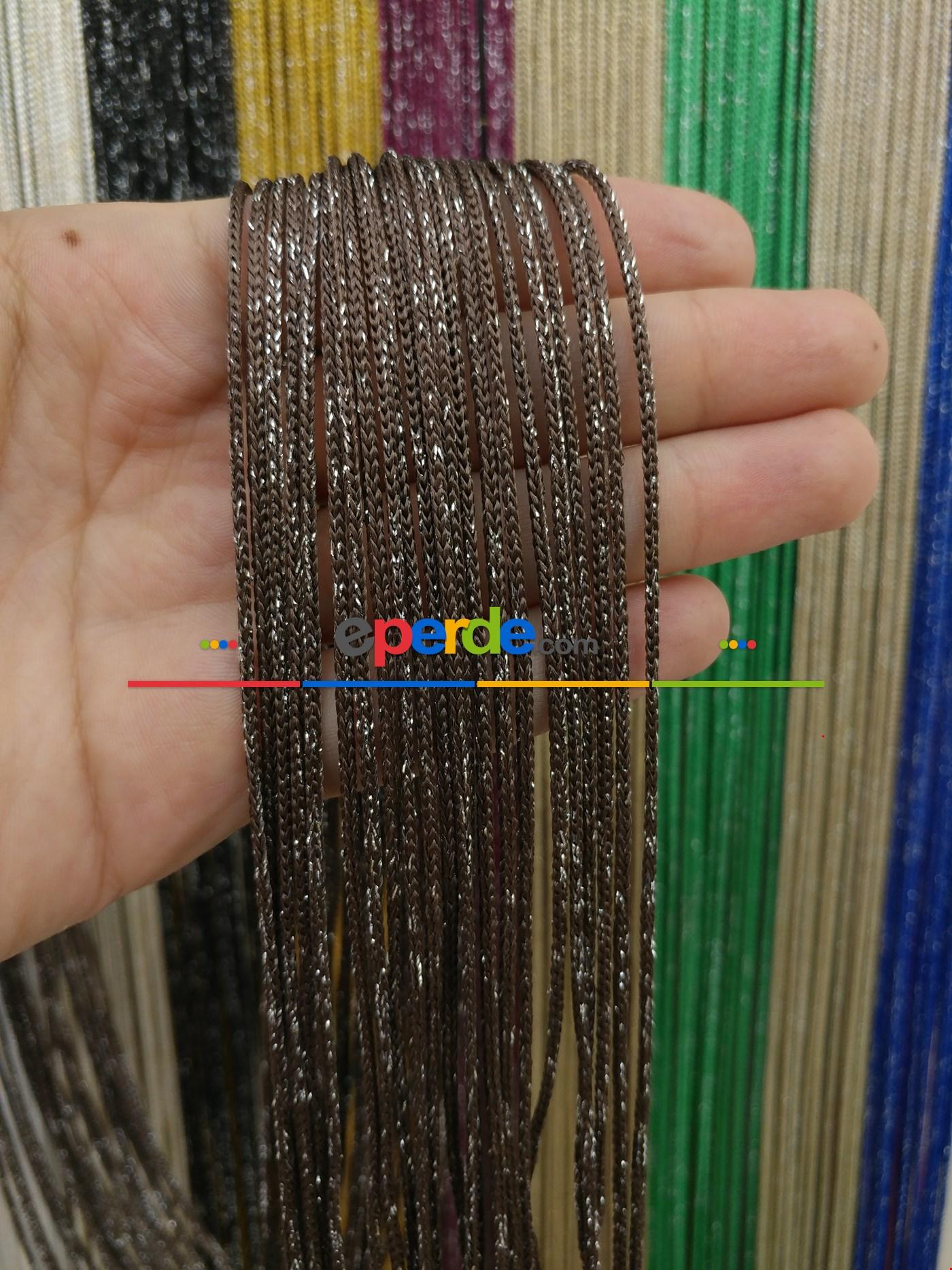 Bej Rengi İp Perde Kalın Zincir Simli Serisi Kahverengi - Gümüş