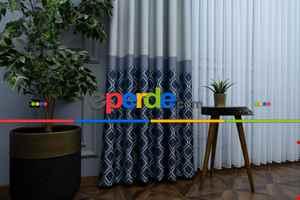 Salon Fon Perde - Modern Pano Fon Perde Bantlı Çift Renk - 504- Lacivert