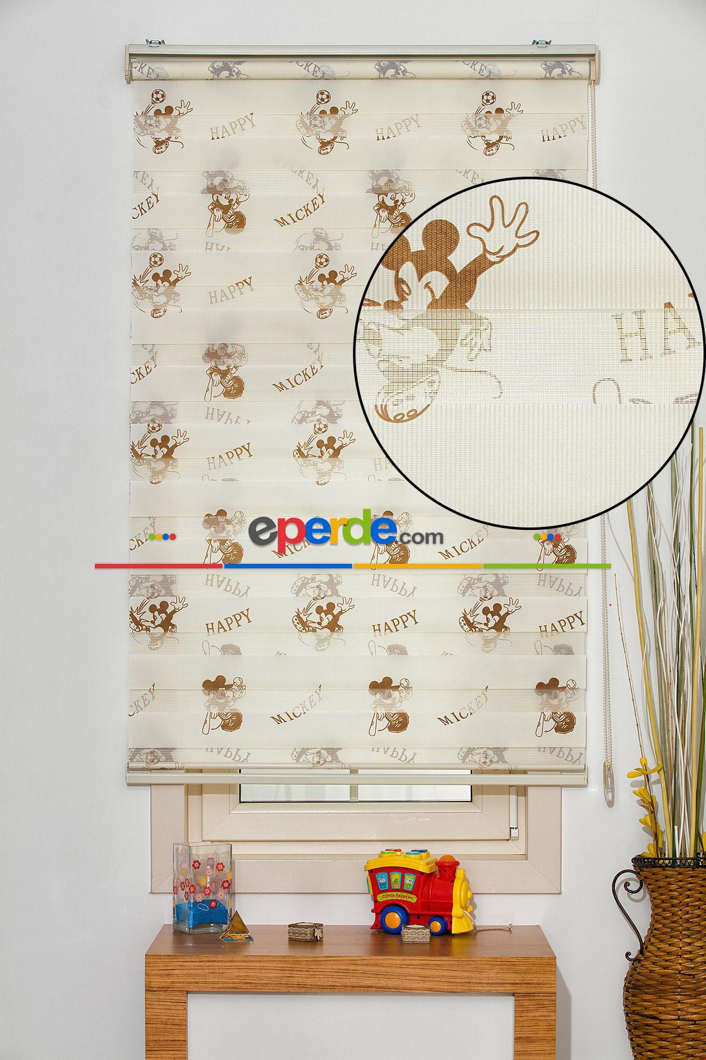 Fırsat!!! Mickey Mouse Desenli Zebra Perde ( Ücretsiz Etek Dilim )