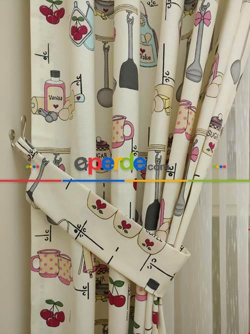 Mutfak Fon Perdesi Çatal - Kaşık - Bıçak 3 ( Leke Tutmaz )- Kırmızı-gri Açık-pembe Koyu
