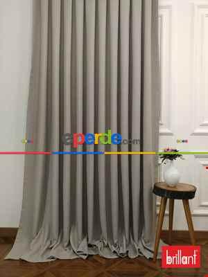 Salon - Brillant Keten Taş Rengi Renk Düz Fon Perde 180cm- Taş Rengi