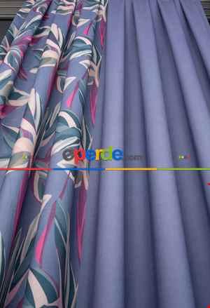 Yaprak Desenli Mor Çift Kanat Kombinli (80x255) Normal Pile Geniş En Fon Perde 1. Kalite